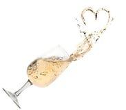 champange玻璃飞溅 免版税库存图片