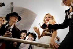 Champanhe bebendo da estrela mundial fotografia de stock royalty free