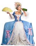 Champanhe bebendo da mulher, isolado Fotografia de Stock Royalty Free