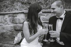 Champanhe bebendo dos pares bonitos do casamento fotos de stock