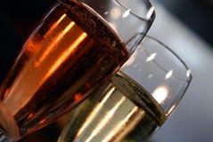 Champanhe cor-de-rosa e regular imagens de stock