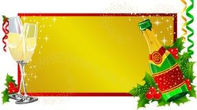 Champanhe da etiqueta do Natal Imagem de Stock
