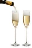 Champanhe de derramamento Fotografia de Stock Royalty Free