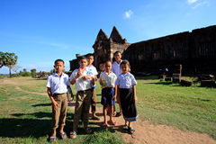 Champasak Laos - Nov21 - group of unidentified boy and girl Laos student standing in front of Prasat Wat Phu important of Laos wor Royalty Free Stock Photography