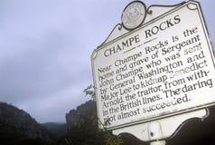 Champe晃动,约翰Champe,塞内卡岩石,风景高速公路路线33, Harmon, WV军士坟墓站点  库存图片