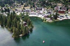 Champex gummilacka, Schweiz arkivbild