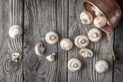 Champignon στο δοχείο χαλκού στην ξύλινη άποψη επιτραπέζιων κορυφών Στοκ Φωτογραφίες