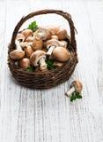 Корзина с грибами champignon стоковые фотографии rf