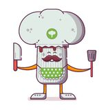 Champignon Character with Cooker Hat vector illustration