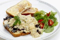 Champignon d'oeufs et déjeuner de salade Photographie stock