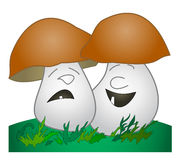 Champignon de couche gai, champignon de couche triste Photo stock