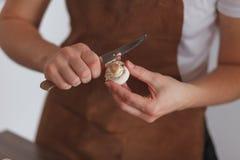 Champignon de paris de peelin de femme Photographie stock libre de droits