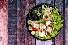 Champignon et légume en bambou frais bouillis avec des Di rôtis de piment Photo stock