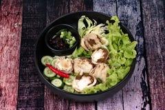 Champignon et légume en bambou frais bouillis avec des Di rôtis de piment Photos stock
