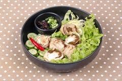 Champignon et légume en bambou frais bouillis avec des Di rôtis de piment Image libre de droits