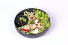 Champignon et légume en bambou frais bouillis avec des Di rôtis de piment Images libres de droits