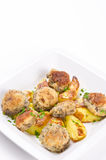 Champignon frying pan with potato Stock Images