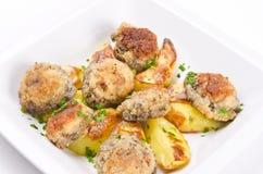 Champignon frying pan with potato Stock Photography