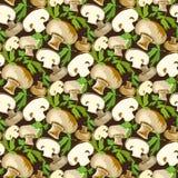 Champignon mushroom with leaves. Stock Image