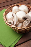 Champignon mushroom. In little basket, vegetables for appetizer and side dish Royalty Free Stock Image