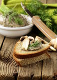 Champignon mushroom pate with rye bread Royalty Free Stock Images