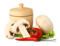 Champignon mushroom with pepper and tomato Royalty Free Stock Photography