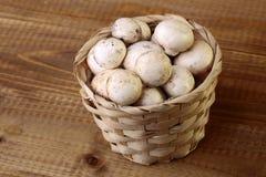 Champignon mushrooms in basket Stock Photos