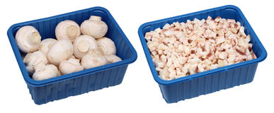Champignon mushrooms in containers Stock Photography