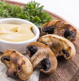 Champignon Mushrooms Cooked On Grill With Cheese Sauce