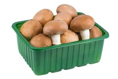 Champignon mushrooms in a plastic basket Stock Photography
