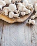 Champignon-Pilze auf einer Tabelle Lizenzfreie Stockfotos