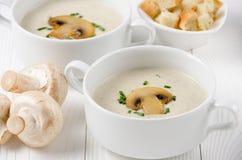 Champignoncremesuppe in zwei weißen Schüsseln mit Croutons und champig stockfotos