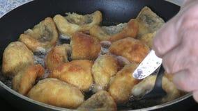Champignons που τηγανίζουν στο τηγάνι φιλμ μικρού μήκους