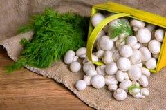 Champignons в корзине, вместе с овощами на таблице Стоковые Фотографии RF