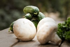 Champignons avec des légumes sur un fond en bois photos stock