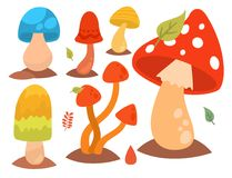 Champignons de conception de style d'art de champignon d'agaric de champignon les différents dirigent le chapeau de rouge d'illus Photo stock