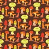 Champignons de conception de style d'art de champignon d'agaric de champignon les différents dirigent le modèle sans couture de c Photographie stock libre de droits