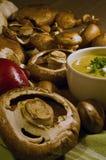 Champignons de couche avec la soupe à champignons Photo stock