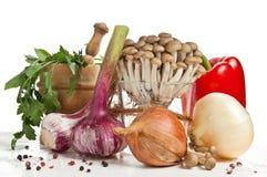 Champignons de couche et légumes Image libre de droits
