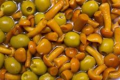 Champignons de couche et olives Photos libres de droits