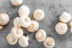 Champignons de couche frais Champignons crus sur le conseil en bois Champignons de paris Images stock