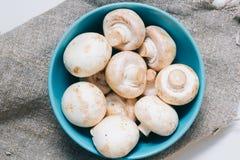 Champignons de couche frais Légume cru feuille naturelle d'usine bio nourriture saine et végétarienne ou organique Vue supérieure images libres de droits