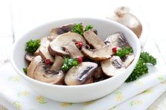 Champignons de couche frits images stock