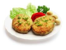 champignons de couche frits décorés de boulettes de viande Image libre de droits