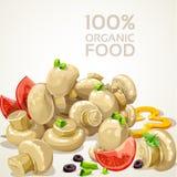 Champignons de couche marinés délicieux et légumes frais illustration stock