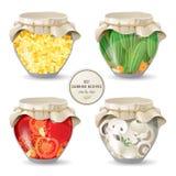Champignons et légumes de mise en boîte Photos stock