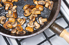 Champignons frying Royalty Free Stock Photos