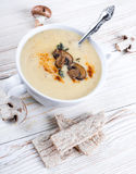 Champignons mushroom soup on a wooden Stock Photos