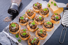 Champignons with puff pastry Royalty Free Stock Images