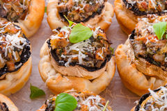 Champignons with puff pastry Stock Images